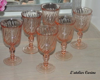 Lot of 6 glasses with mulled wine or digestif arcoroc rosaline, arcoroc wine glasses rosaline, cooked wine glasses, vintage.