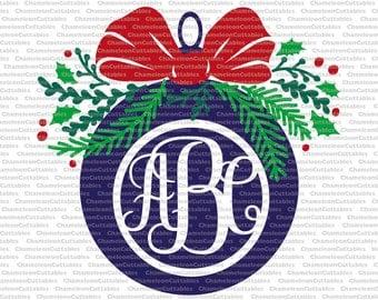 Christmas ornament with fir, svg, cut, file, decal, vector, silhouette, mistletoe, monogram, vinyl, holidays, winter, clipart, design,