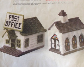 Church and Post Office plastic canvas needlepoint kit from 1978 sealed