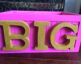Pink BIG Sister Wooden  basket