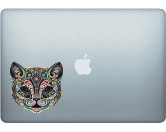 Polynesian Tribal Cat Face Decal - Made In The USA With High Quality Adhesive Vinyl In Full Color