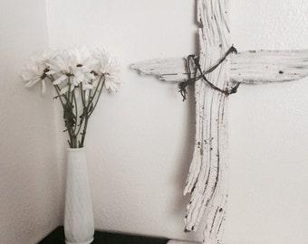 Driftwood barbwire cross