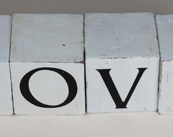 Handmade Shabby Chic LOVE Letter Wooden Block Cubes Sign