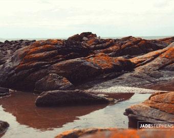 Nature Photography - Tasmanian Rocky Coast Line Bright Orange Nature Wall Art