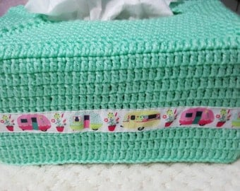 Handmade Crochet Tissue Box Cover with Caravan Ribbon. ...made to order in any colour combination of your choice.