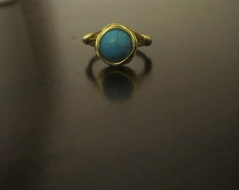 Gold Wire Wrapped Blue Beaded Ring