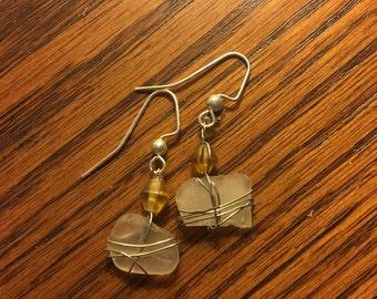 White Beaded Seaglass Earrings