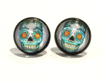 Day Of The Dead Skull Studs