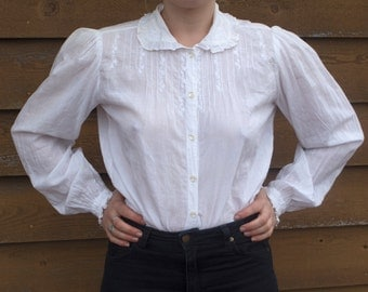Edwardian Style White Blouse • 100% Cotton  • Peter Pan Collar • Embroidered