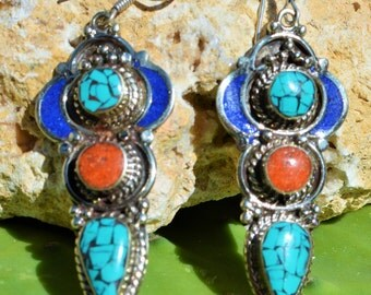 Amazing Earrings Handmade with Lapis, Coral and Turquoise