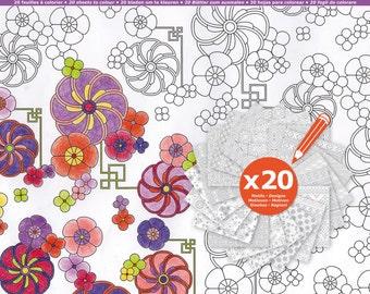 20 sheets of paper coloring 30.5 x 30.5 Scrapbooking - paper coloring block