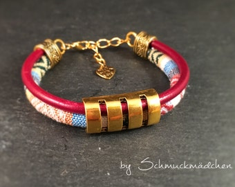 Bracelet gold linen leather