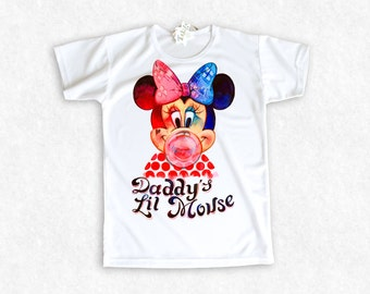 """Harley Mouse (Minnie Quinn) Suicide Squad 2016 style/ """"Daddy's Lil Mouse"""" / girl's t-shirt with my artwork"""