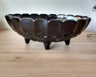 Black Indiana Glass Garland Bowl Footed ~ Embossed Fruit Pattern~Centerpiece Bowl~Black And White Wedding