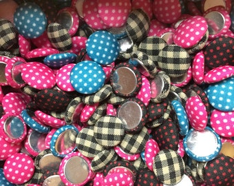 50-pieces 12-13mm Polka Dots & Grid Fabric Cloth Covered Flat Back Buttons Button Flatback Decoration Sewing Buttons