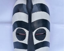 Zebra wall mask, mask, wall mask FADT mask, Hand-carved African Zebra Mask (Ghana), Wall hanging, wood mask Ahwiaa mask