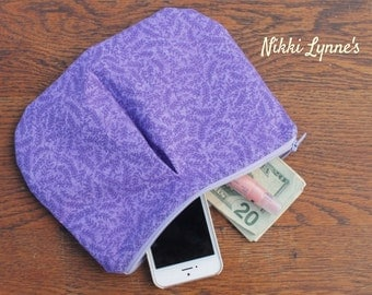 Zippered Pouch // Pleated Pouch // Cosmetic Bag // First Aid Bag // Small Pouch // Clutch // Purple