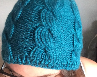Teal cable knit cap