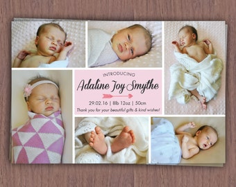 Photo Collage Birth Announcement Card // Baby Birth Announcement with Multiple Pics // Boy's Birth Announcement // Girl's Birth Announcement