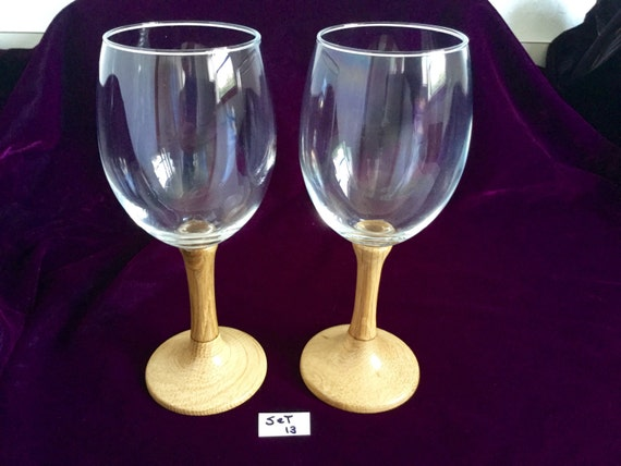 Eyeglass Frames Turning White : Wine glasses with Hand-turned white oak wooden stems