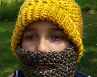 Detachable Knit Beard Hat