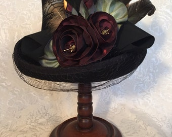 Ladies Wool Black Top Hat, Ribbon Rose Embellishments with Feathers, Handcrafted