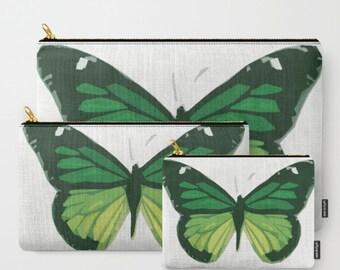 Green Butterfly-Carry All Zipper Pouch -Set of 3