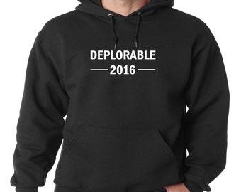 Deplorable 2016 Hoodie Political Anti Hillary Trump For President Sweatshirt New 2016 Election America Hooded Sweatshirt Hillary Donald