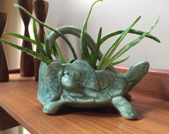 1950s Vintage McCoy turtle watering can OR planter! Green pottery water sprinkler!