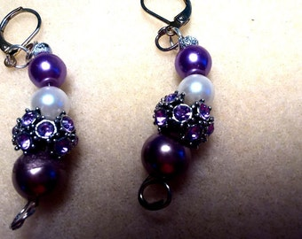 Purple and Lavender Beaded Dangles