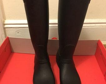 Womens Boots, Wellington Boots, Hunter Boots, Black Boots, Vintage Boots, Rain Boots
