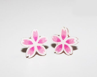 Cherry blossom,cherry flowers.cherry flower earrings,flower earrings.sutd earrings.vintage earrings.pink flower.