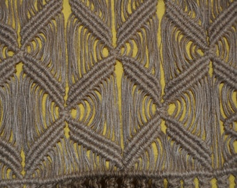 """Incredible macrame wall hanging (No. 2) in natural hemp colour, dimensions 23.6 / 51.2"""" inches"""