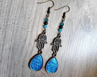 Earrings dangling brass bronze Shae, Crystal, magic pearls, blue, hand of Fatima, hamsa, oriental, pagan, wicca,