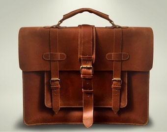 Leather Messenger Bag, Briefcase for Men, Retro Satchel