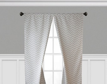 Khaki Tan Beige Curtains Chevron Stripe Curtain Panels Window Treatments Living Room Valance Zig Zag Decor