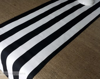 Black And White Stripe Table Runner Centerpiece Dining Room Kitchen Home Decor Fabric