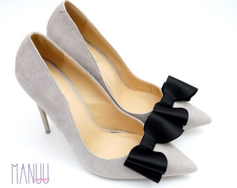 Black satin bows - shoe clips Manuu
