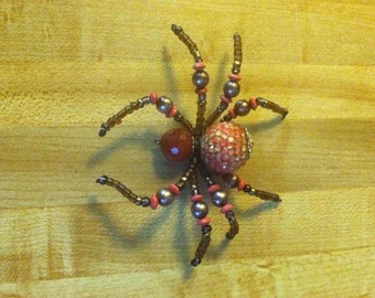 Orange and Brown Beaded Spider