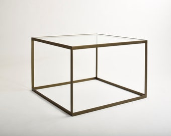 The best metal coffee table with glass desk 'Kubisto' - gold