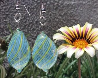 Handmade Blown Glass Light Blue  drop earrings