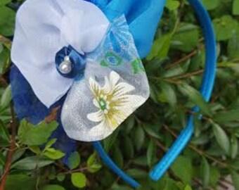 Kids headband - turquoise, hair accessory, girls headband, hand made, wedding hair band,.
