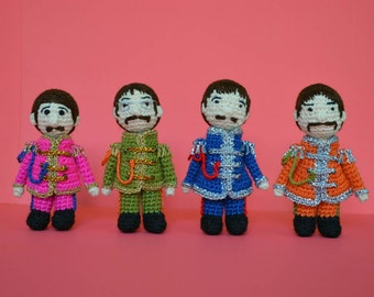 The beatles and Yellow Submarine amigurumi set.