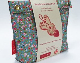 Liberty inspired Print Sewing / Craft Kit - Padded Hearts (Classic) Beautiful Fabric