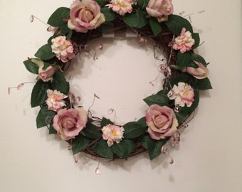 Pink Rose Wreath, Rose Grapevine Wreath, Pink Rose Grapevine Wreath, Spring Rose Wreath, Summer Rose Wreath, Rose Grapevine Wreath