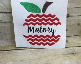 Chevron Apple Embroidery Design, Apple Chevron Embroidery Design, Chevron apple Back To School Embroidery Design