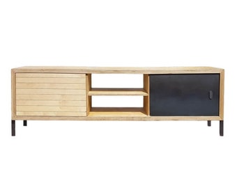 Long unit/ TV unit/ Industrial/ birch plywood/ Industrial/ minimalism/ mild steel details/ modern