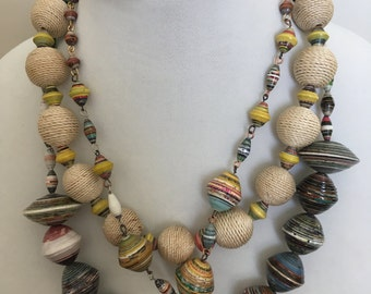 Parper Bead Necklace, 3 Strand Necklace