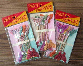 Vintage Butterfly Party Toppers Paper on Long Wooden Picks Set of 8 in Original Package Japan (1 pkg)