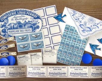 Vintage Blue Labels & Stamps Collection Dennison Birds Pharmacy Cigar Bands Ephemera